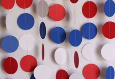 Red, White and Blue Garland, Patriotic Decoration, Paper Circle Garland, 4th of July Decor, 10 ft. long