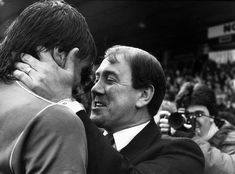 Manager Howard Kendall embraces Graeme Sharp after a 5-0 4th. round FA Cup replay victory over Sheffield Wednesday at Hillsborough
