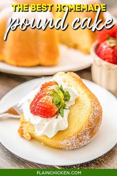 The BEST Homemade Pound Cake - I've been making this cake for over 20 years and it never fails me! Seriously DELICIOUS!!! The key to success is to have all your ingredients at room temperature. Butter, shortening, sugar, eggs, flour, baking powder, milk, vanilla, and lemon extract. Can freeze leftover for a sweet treat later! Make this ASAP!