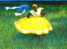 "John Green ""Yellow Performance"" Oil on Canvas  2002"