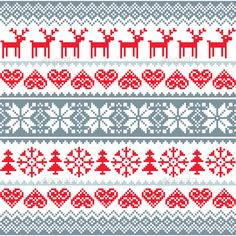 Winter Christmas Seamless Pattern by RedKoala Christmas vector background ¨C vector Scandinavian embroidery styleFEATURES: 100 Vector Shapes All groups have names All elements Cross Stitch Borders, Cross Stitching, Cross Stitch Embroidery, Cross Stitch Patterns, Scandinavian Embroidery, Scandinavian Pattern, Scandi Christmas, Christmas Cross, Winter Christmas