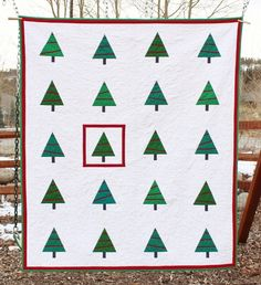 """""""Modern Trees"""" quilt by Gooses Bags and Gifts; inspired by the 2013 quilt-along organized by Christa Quilts."""
