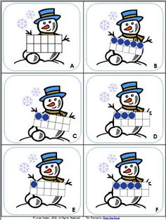 Snowman Button Counting Puzzles - Playdough To Plato Free snowman counting puzzles for preschool or kindergarten. Fun winter math center or counting game! Kindergarten Centers, Preschool Math, Math Classroom, Math Activities, Math Centers, Winter Activities, Math Games, Winter Thema, Ten Frames
