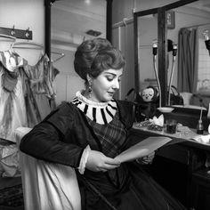 "Margherita Guglielmi in her dressing room - ""Lucia di Lammermoor"" 1964 http://www.archiviolascala.org/"