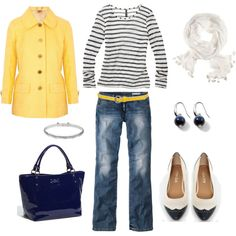Adorable. The patent blue bag and bright yellow jacket are so great!