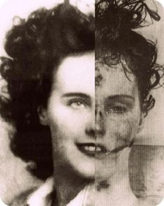 """Elizabeth Short known as """"The Black Dahlia"""" before and after death."""