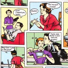 colourful Michael Miller designer fabric retro comic 1