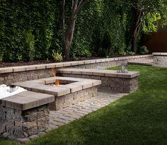 Paver Manufacturer: Belgard | Paver Style: Oldworld | Paver Color: Toscana  | Paver Pattern: Runner | Sitting Wall & Fire Pit: Celtik Wall