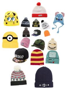 """""""Beanie and hats:p"""" by ftl-mac ❤ liked on Polyvore featuring Starter, Neff, Superdry, Charlotte Russe, Moschino, Disney, Topshop and Accessorize"""
