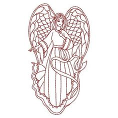 Sweet Heirloom Embroidery Design: Redwork Angel 3.80 inches H x 2.11 inches W