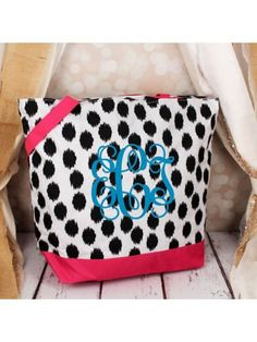 www.ewam.com Market Shopping Tote in Black Brushed Dots with Pink Trim