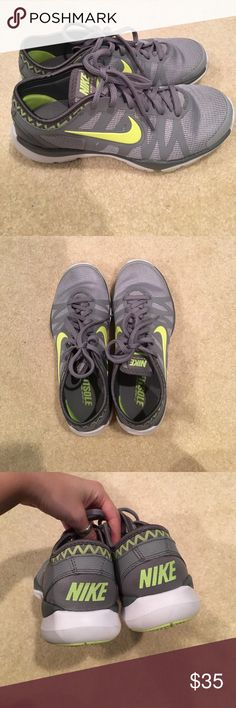 Nike sneakers Perfect condition Nike sneakers. Only worn once or twice. Woman's size 5.5. Neon green Nike Shoes Sneakers