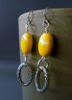 Yellow Dyed Howlite Oval Stone and Pewter by BeadDameDesigns, $10.00