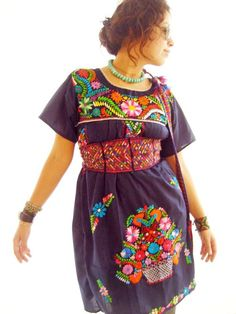 Indigo Mexican embroidery tunic bohuan ethnic by AidaCoronado