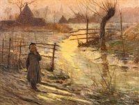 Jeune fille au bord de létang by Emile Claus