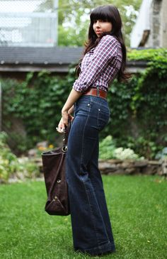 Fall / 70s outfit. This recreation is well done! Looks straight from my youth...the hair, the jeans, the belt, the plaid button down shirt are all spot on!