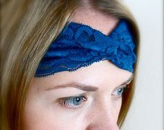Pretty navy blue twisted lace head band