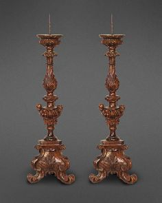 Richard Shapiro | Antiques & Works of Art | A Grand Pair Of Northern Italian Exquisitely Carved Walnut Prickets