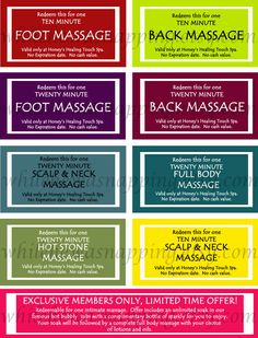 Massage Coupons for Him. (Gonna make my own custom coupons. Lol