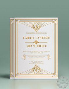 Art deco printable wedding invitation and rsvp by 101prettydesigns, $17.00