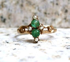 Victorian Emerald Glass Ring Vintage Engagement Ring Antique