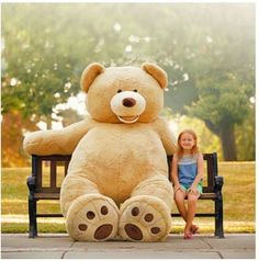 Plush Baby Toys Giant Teddy Bear Toy American Bear Cover With Zipper Plush Soft Gift & Garden Huge Teddy Bears, Giant Teddy Bear, Teddy Bear Coat, Giant Plush Bear, Giant Stuffed Animals, Stuffed Bear, Stuffed Toys, Bear Toy, Decor Pillows