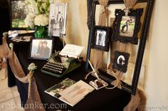 Thrifted and Re-purposed Wedding -    Sign in table using old typewriter, frames, photos, etc