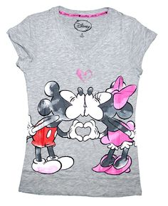 c7c07c54602 Disney Classic Mickey   Minnie Mouse Womens Pajama T Shirt Top - Grey  Minnie Mouse Shirts