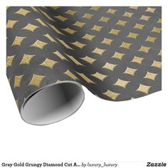 Gray Gold Grungy Diamond Cut Art Deco Graphite Wrapping Paper