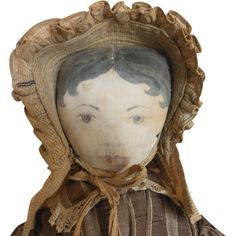 Enchanting Early Cloth Doll with Ink Drawn Face