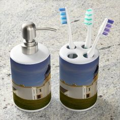 Find a Beach bath set on Zazzle. With a great toothbrush holder & soap dispenser, our bath sets are a great addition to your home! Lighthouse Bathroom, Mermaid Bathroom Decor, Bad Set, Floral Bath, Sainte Marie, Bathroom Bath, Cat Bath, Bathroom Grey, Small Bathroom