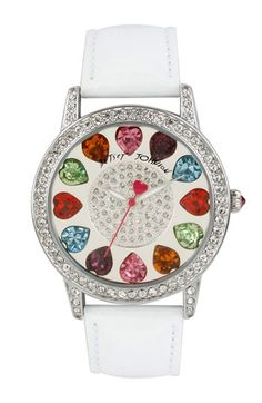 Betsey Johnson Multicolored Crystal Dial Watch, 40mm available at #Nordstrom