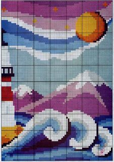 lighthouse2; I like the large blocks of color; it lends itself to the use of overdyed fiber.