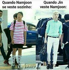 Que diferença n? // Olha aí, ganhou um mozão e um personal stylist na mesma pessoa Namjoon, Seokjin, Taehyung, Bts Memes, Bts Derp Faces, Meme Faces, Btob, Foto Bts, K Pop