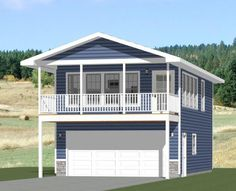 "#20X32H7O $29.99https://sites.google.com/site/excellentfloorplansTiny 1 bedroom, 1 bath home. 2 car garage and 170 sq ft storage on the first level, with a balcony on the 2nd level. It has a microwave over range, apartment sized fridge, and a laundry center.Sq. Ft: 785 (170 1st, 615 2nd)Building size: 20'-0"" wide, 40'-0"" deep (including balcony)Main roof pitch: 4/12Ridge height: 21'Wall heights: 8'Foundation: SlabLap siding & faux stone panelingThis plan..."