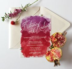 Watercolor Wedding Invitation in Red & Purple