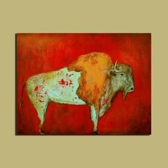Abstract Buffalo Original Painting, Large Art, 30 x 40, Weathered and Distressed Southwest Art. $500.00, via Etsy.