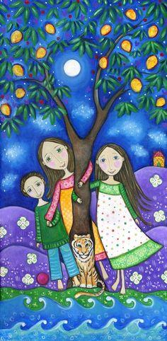El arte de impresión Mango Tree Serie ideal Imprimir familia dos niñas y una caprichosa decoración de la pared de los niños del estilo popular imagen del muchacho