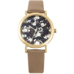 Decree Womens Floral Dial Brown Strap Vintage-Style Watch ($20) ❤ liked on Polyvore featuring jewelry, watches, fake jewelry, quartz jewelry, vintage inspired watches, imitation jewelry and floral jewelry
