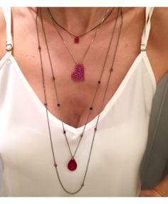 colares cor rubi rosa rodio negro semijoias