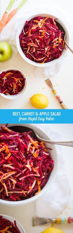 Beet Carrot Apple Salad will make your tastebuds dance with flavor. The sweet carrot & apple balance out the earthy beets. Simply tasty, paleo, and gluten-free. Learn how! Beet Recipes Healthy, Apple Salad Recipes, Raw Food Recipes, Vegetable Recipes, Vegetarian Recipes, Healthy Snacks, Healthy Eating, Cooking Recipes, Clean Eating