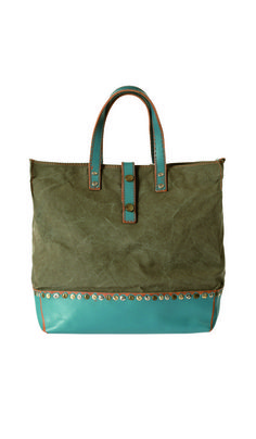 love the matte olivey forest green with that turquoise patent leather touch - waxed cotton canvas & leather