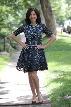 """Summer wedding outfit details: blue lace dress by Shoshanna; vintage pearl clutch So this is the Shoshanna """"Carmen"""" Lace Fit & Flare Dress in navy. 40 And Fabulous, Love Clothing, Fit Flare Dress, Blue Lace, American Made, Summer Wedding, Lace Dress, Formal Dresses, Outfits"""
