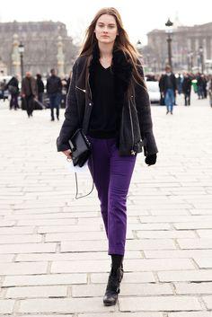 It was a simple enough mix, but bright purple trousers had an eye-catching effect. Source: Le 21ème   Adam Katz Sinding