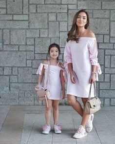 """""""With our off-the-shoulder dresses and our purses Mommy and I can go shopping. Mommy Daughter Dresses, Mother Daughter Matching Outfits, Mother Daughter Fashion, Mom Daughter, Mom And Baby Outfits, Family Outfits, Baby Girl Dresses, Baby Dress, Kids Outfits"""