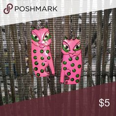 Kitty hanging earrings Handcrafted and painted cat earrings, love the vibrant colors, pink with green polka dots, really fun jewelry.....ty for stopping by my closet have a great day           ☺️ 15% off 3 purchased items           ☺️ Happy Poshing hand made Jewelry Earrings
