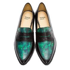 Toga Pulla Green Marble Croc-embossed loafers