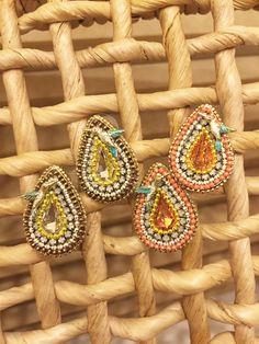 Hummingbird Tear Drop Stud Earrings Metal Chain by mypurplebasket