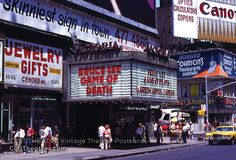 """Best postcards ever! www.culttheatres.com The Victoria Theatre in Times Square, New York City, then called """"The Deuce,"""" showing Bruce Lee's Game of Death, with Kareem Abdul Jabbar also on the marquee!"""