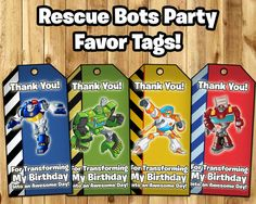 Transformers Rescue Bots Favor Tags  Rescue Bots by InstaBirthday